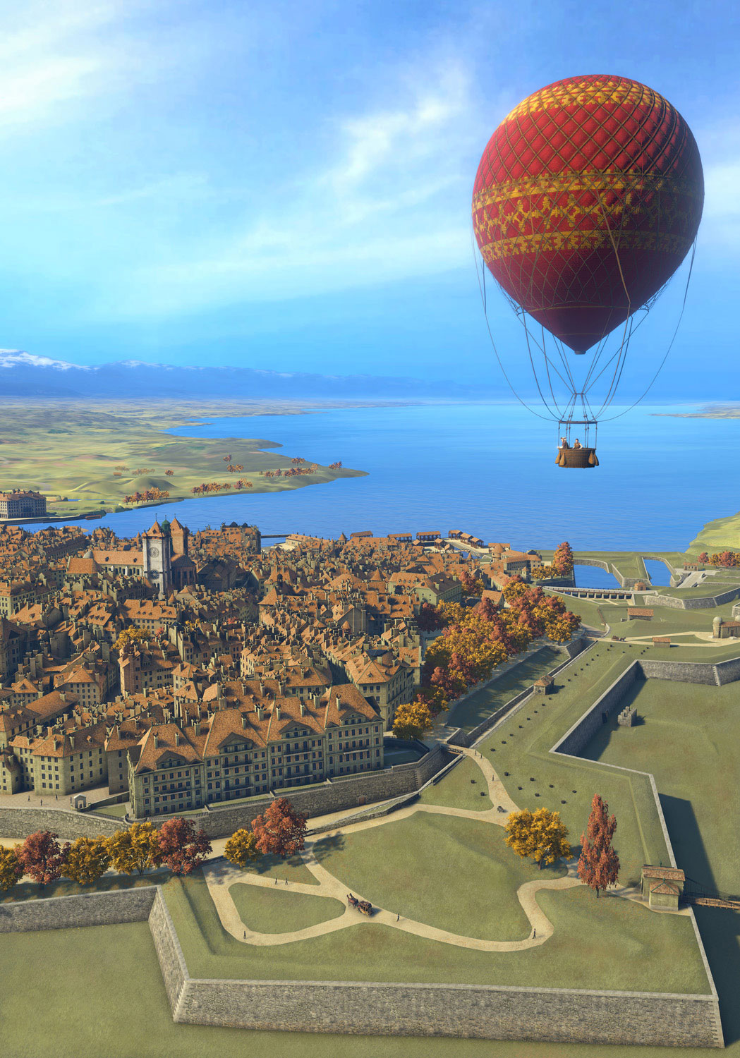 Geneva 1850 - Balloon flight